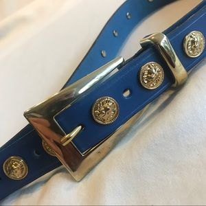 Women's Blue Leather Belt Medium W/Lion Heads EUC